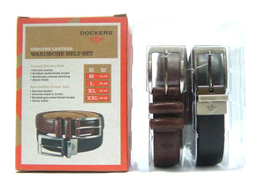 Dockers Genuine Leather Dress Belt Set