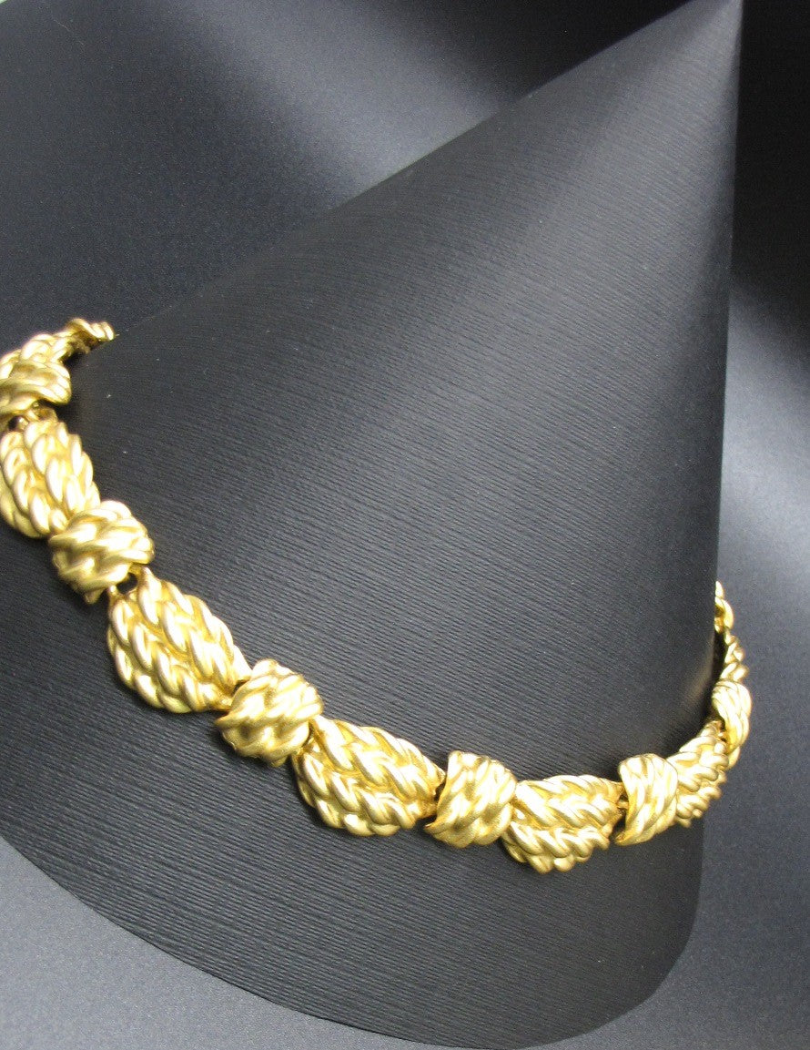 80s Vintage ANNE KLEIN Matte Etruscan Gold Plated Chunky Rope Link Necklace