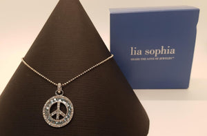 Lia Sophia Silver peace sign pendant necklace