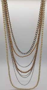 Multi Strand Faux Pearl Mixed Chain Necklace-Ann Taylor LOFT
