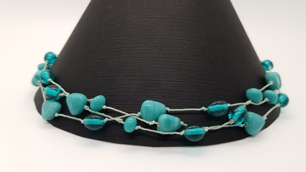 Aqua Blue Stone Silk Dori Necklace