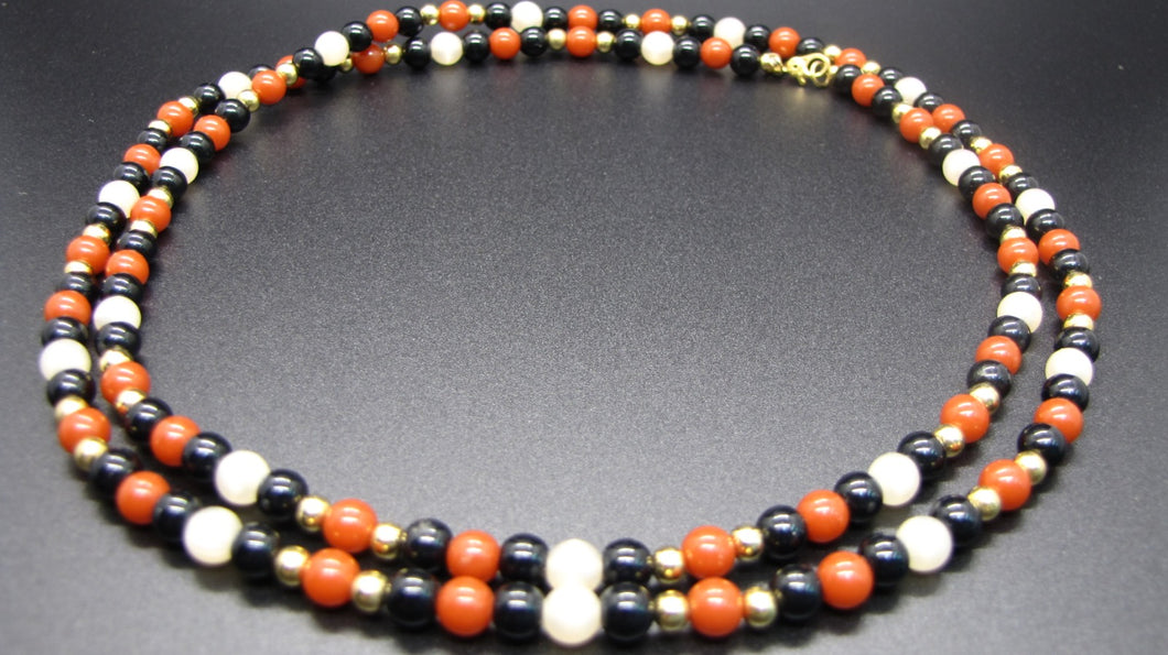 Classic Long Single Strand Necklace W/T Black, Coral, White & Gold Beads-Monet