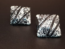 Load image into Gallery viewer, Black & White Abstract Square Stud Earrings