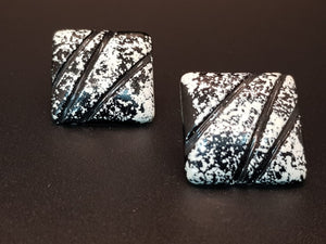 Black & White Abstract Square Stud Earrings