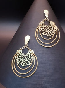 """Golden Grass"" Eco-Brazilian Filigree Gold Plated Dangle Earrings-Art da Terra"