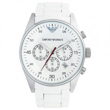 Load image into Gallery viewer, Emporio Armani Men's AR5859 Sport White Silicone Silver Chronograph Dial Watch  (Swiss Made)