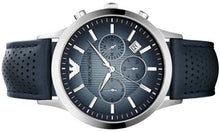 Load image into Gallery viewer, Emporio Armani Men's AR2473 Classic Chronograph Blue Dial Navy Leather Strap Watch