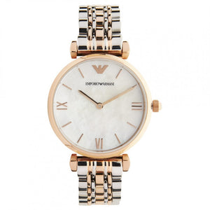 Emporio Armani AR1683 Ladies Pearl and Rose Gold Gianni T-Bar Watch