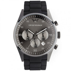 Emporio Armani Men's AR5889 Sport Chronograph Silicone Accent Black Dial Watch  (Swiss Made)