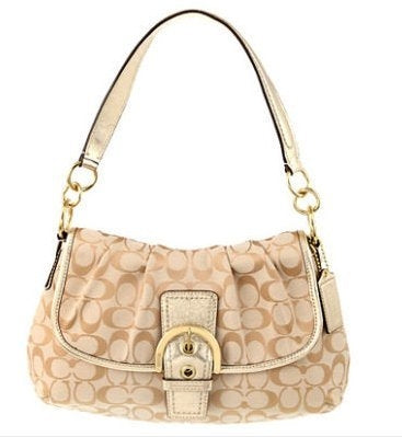 Coach: Khaki Soho Signature Flap Hobo