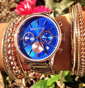 Michael Kors MK5911 Bailey Chronograph Blue Dial Rose Gold-tone Women's Watch