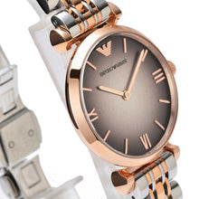 Load image into Gallery viewer, Emporio Armani AR1725 Ladies Grey and Rose Gold Gianni T-Bar Watch
