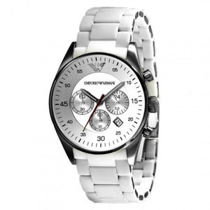 Emporio Armani Men's AR5859 Sport White Silicone Silver Chronograph Dial Watch  (Swiss Made)