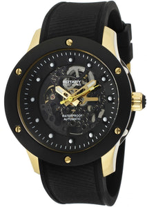 Rotary Men's Editions Automatic See Thru Black Dial Two Tone IP Case Black Rubber Rotary-512C
