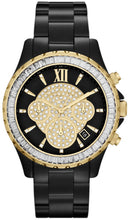 Load image into Gallery viewer, Michael Kors MK5747 Madison Stationary Pave Glass Crystals Dial/Bezel Black Ioned Stainless Steel Ladies' Chronograph Watch