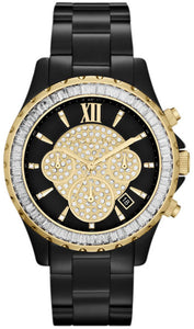 Michael Kors MK5747 Madison Stationary Pave Glass Crystals Dial/Bezel Black Ioned Stainless Steel Ladies' Chronograph Watch