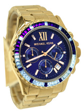 Load image into Gallery viewer, Michael Kors Mid-Size Golden Stainless Steel Everest Chronograph Glitz Watch (MK5754)