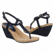 Load image into Gallery viewer, Ralph Lauren: Black Rosalia Wedge Sandals