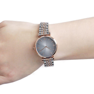 Emporio Armani AR1725 Ladies Grey and Rose Gold Gianni T-Bar Watch