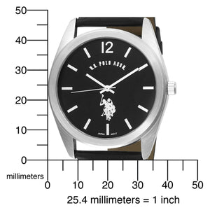 U.S. Polo Assn. USC50005 Black Leather Men's Analog Watch