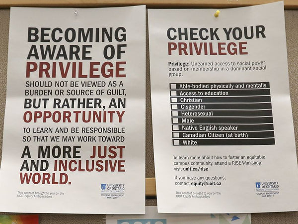 Check your privilege' posters at UOIT in Oshawa