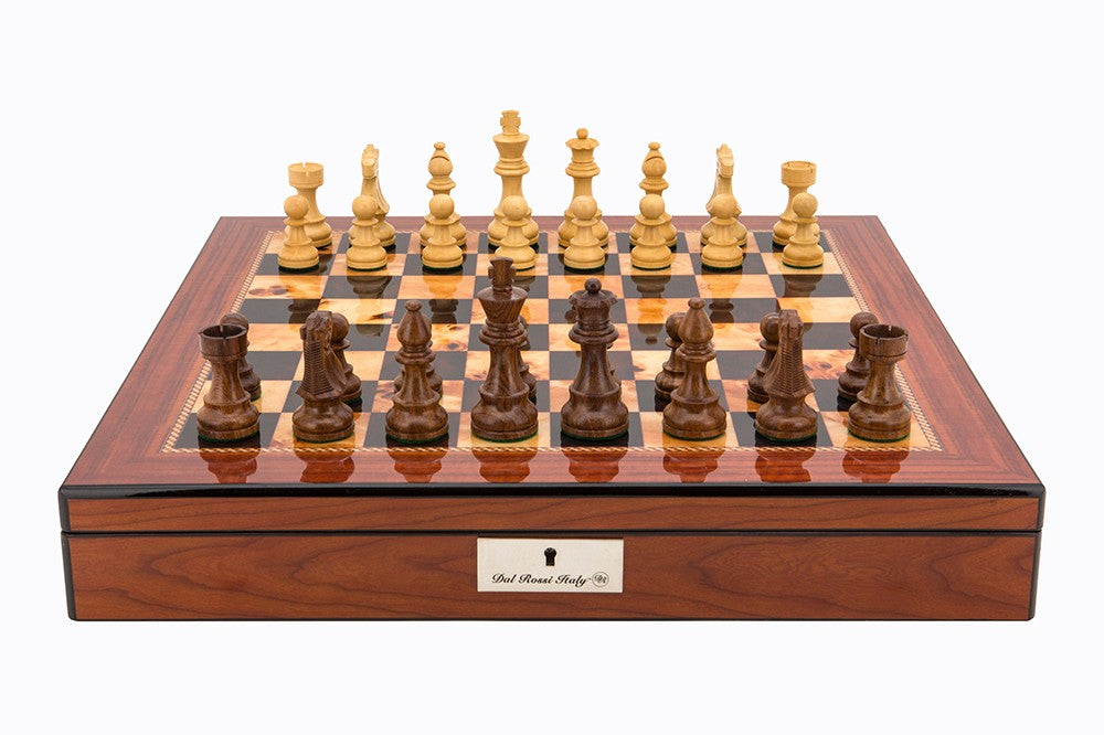 "Dal Rossi 20"" Walnut Shiny Finish Chess Set with Staunton Wooden Pieces"