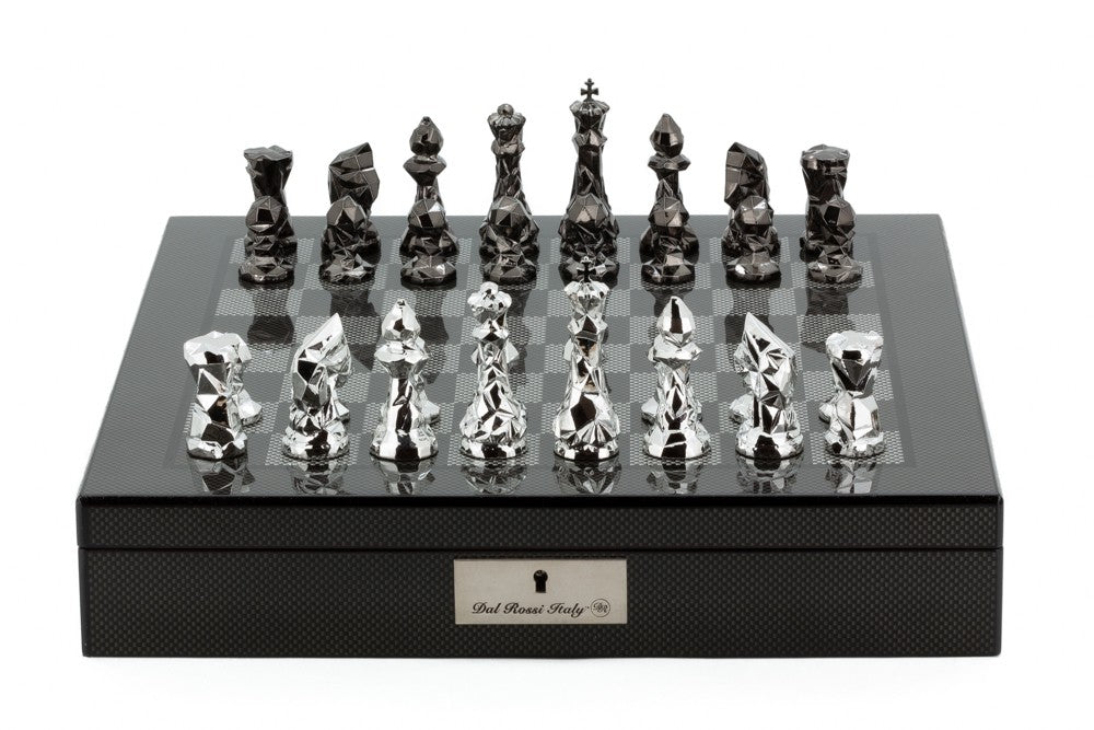 "Dal Rossi 16"" Carbon Fibre Finish Chess Set with Diamond Cut Titanium and Silver Pieces"