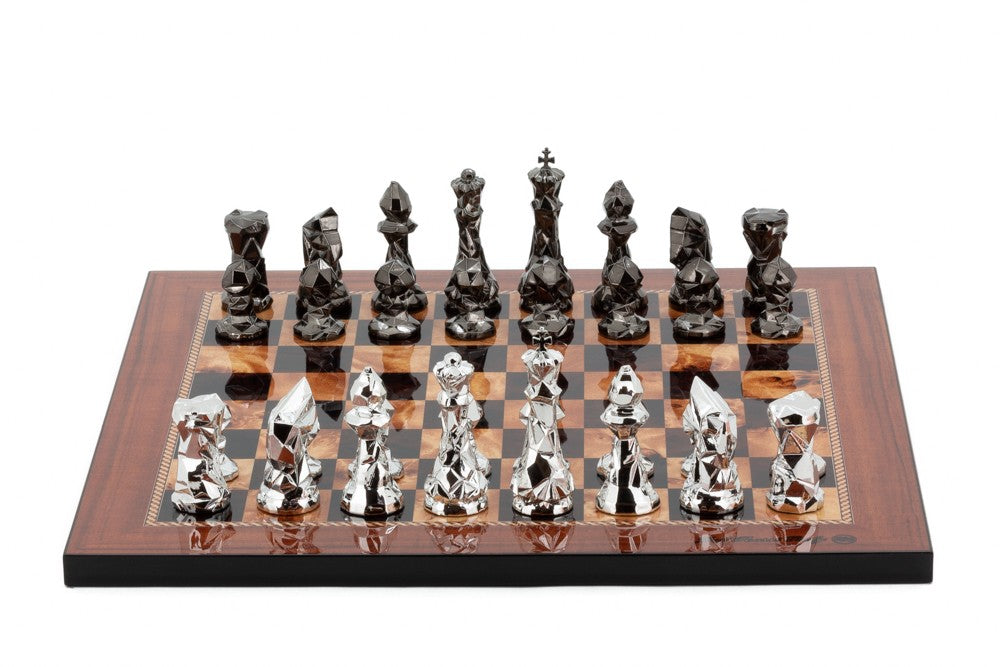 "Dal Rossi 16"" Thin Base Walnut Chess Set with Diamond Cut Titanium and Silver Pieces"