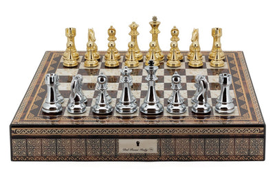 "Dal Rossi 20"" Mosaic Finish 20"" Chess Set with Gold and Silver Finish Pieces"