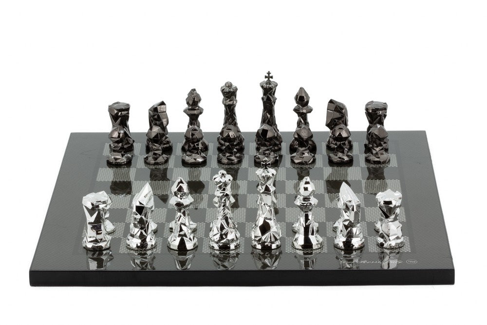 "Dal Rossi 16"" Thin Base Carbon Fibre Finish Chess Set with Diamond Cut Titanium and Silver Pieces"