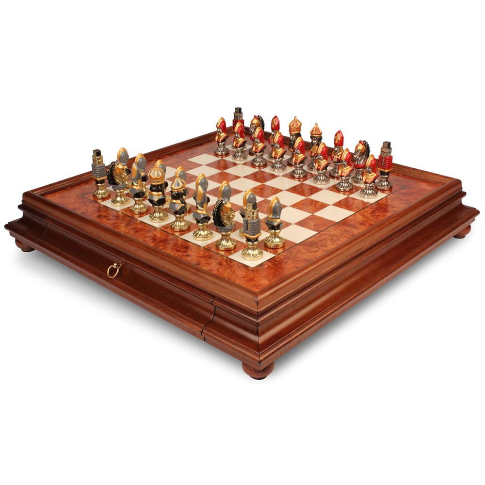 Medieval Theme Hand Painted Metal Chess Set with Elm Burl Chess Case