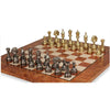 Large Arabesque Classic Staunton Metal Chess Set with Elm Burl Chess Board