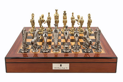 "Dal Rossi 20"" Renaissance Chess Set on Walnut Finish Box"