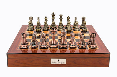 "Dal Rossi 20"" Walnut Shiny Finish Chess Set with Copper and Bronze Pieces"