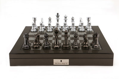 "Dal Rossi 20"" Carbon Fibre Finish Chess Set with Titanium and Silver Pieces"