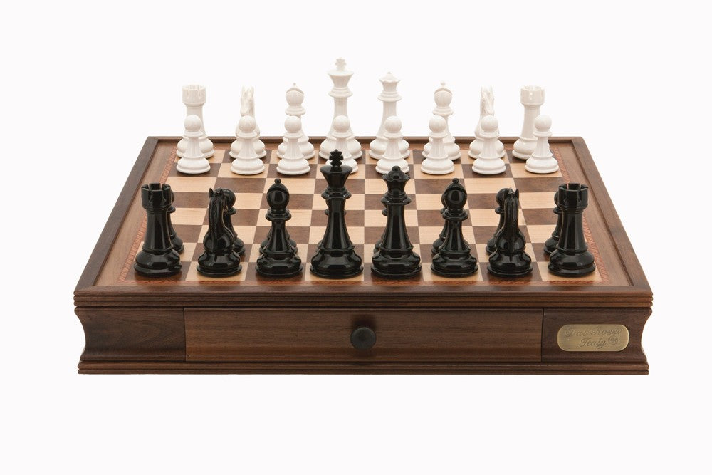 "Dal Rossi 20"" Black and White Chess Set"