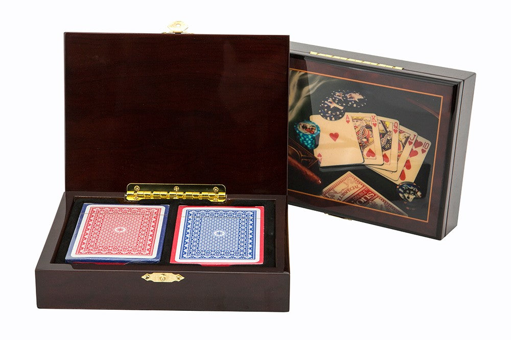Dal Rossi Las Vegas Wooden Cigar Box with Cards