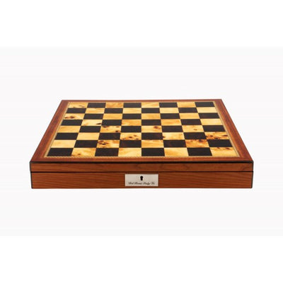 "Dal Rossi 16"" Contemporary Chess Set  in Walnut Finish with Compartments"