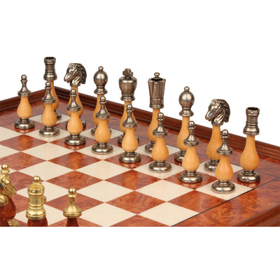 Italfama Large Italian Arabesque Staunton Metal & Wood Chess Set with Elm Burl Chess Case