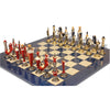 Italfama Renaissance Theme Hand Painted Metal Chess Set with Blue Ash Burl Chess Board