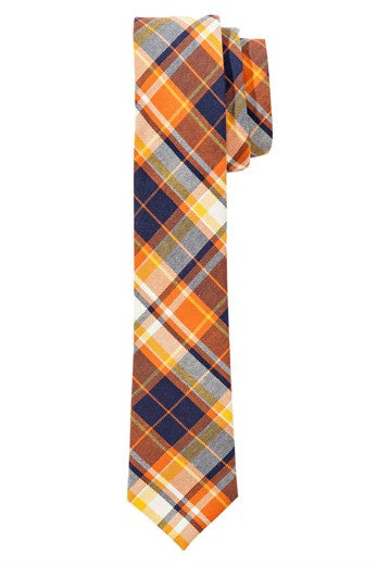 WoodyRoo Orange Plaid Tie