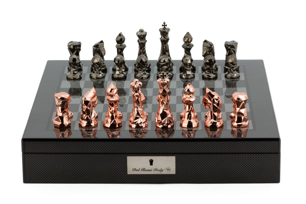 "Dal Rossi 16"" Carbon Fibre Finish Chess Set with Diamond Cut Copper and Bronze Pieces"