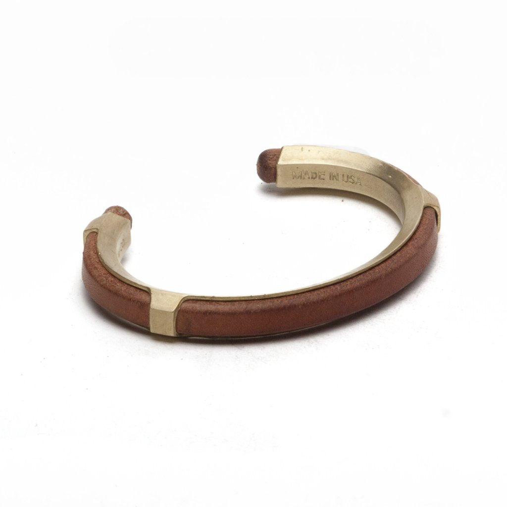 Maxx & Unicorn Leather Inlay Cuff Brass