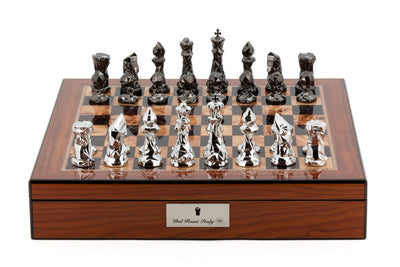 "Dal Rossi 16"" Chess Set with Diamond Cut Titanium and Silver Pieces on Walnut Base"