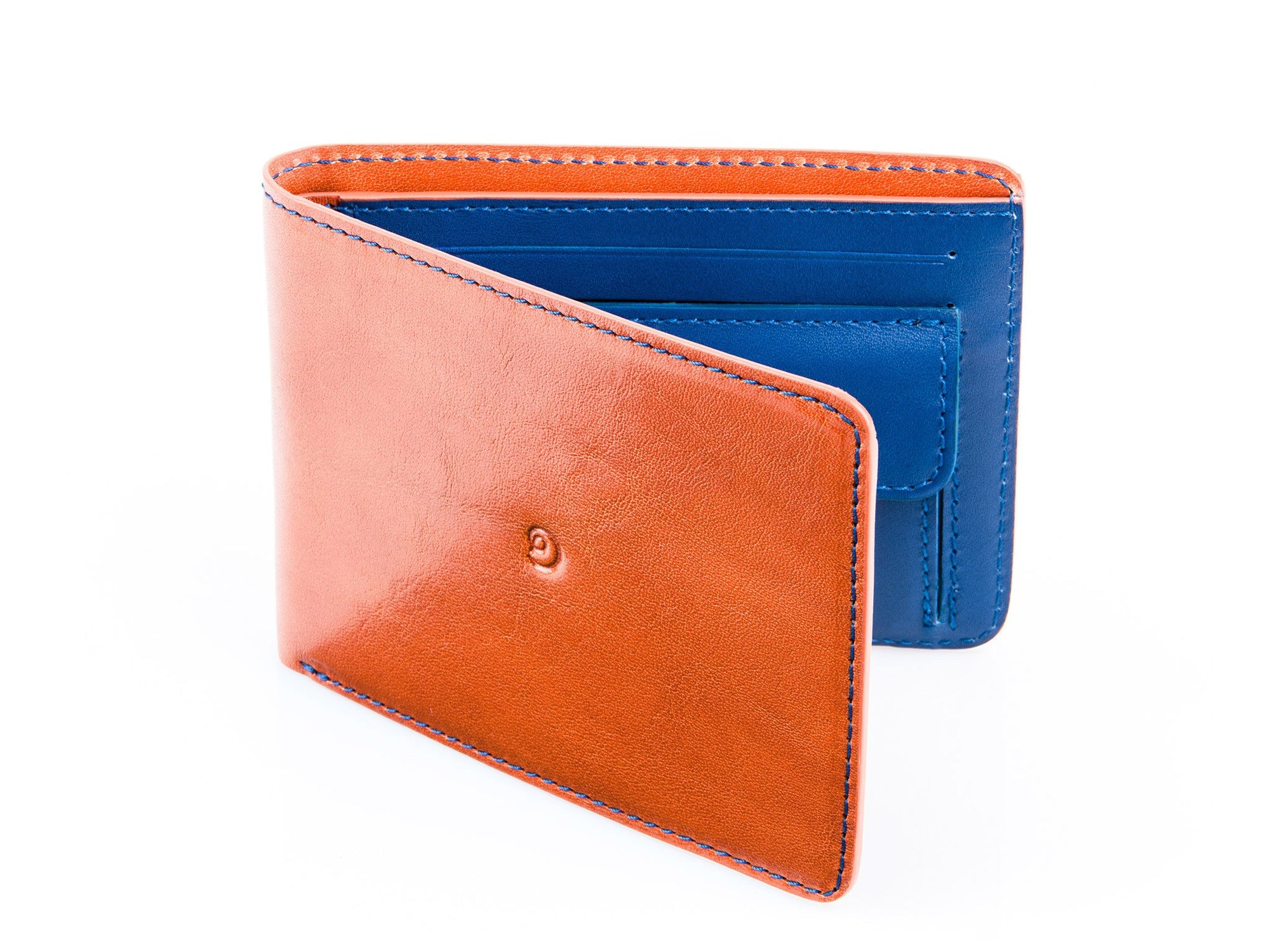 Danny P. Slim Leather Coin Wallet Tan Blue