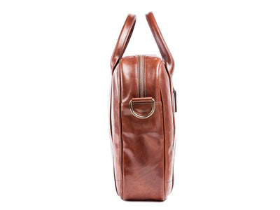 Danny P Leather Messenger Bag Dark Brown