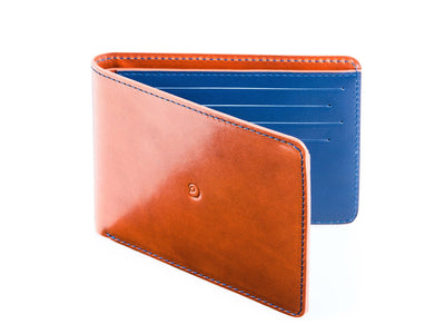 Danny P. Slim Leather Wallet Tan Blue