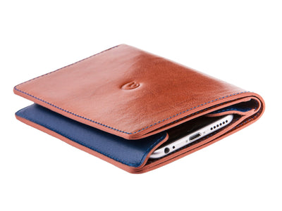 Danny P. Leather Wallet and iPhone 6/6s/7 Case Tan Blue