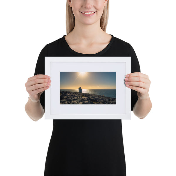 Black Head Lighthouse - Matte Paper Framed Poster With Mat