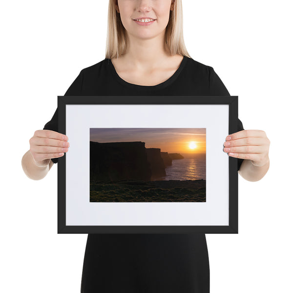 Cliff Sunset I - Matte Paper Framed Poster With Mat